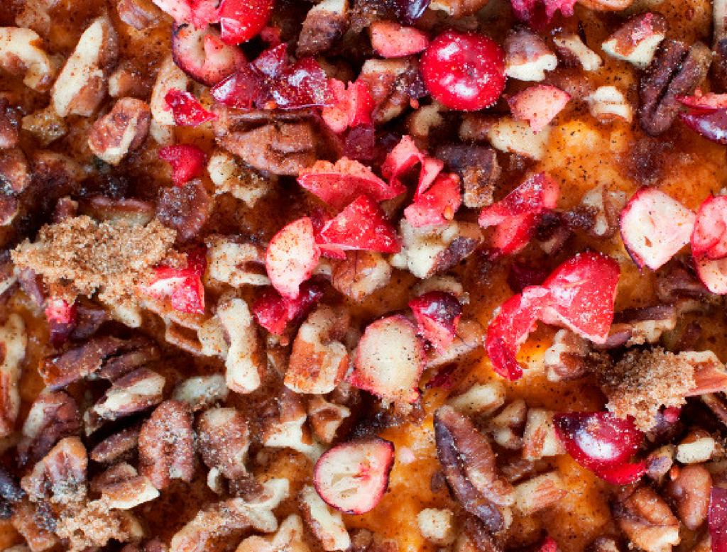 Mashed Sweet Potatoes with Craisins and Nuts