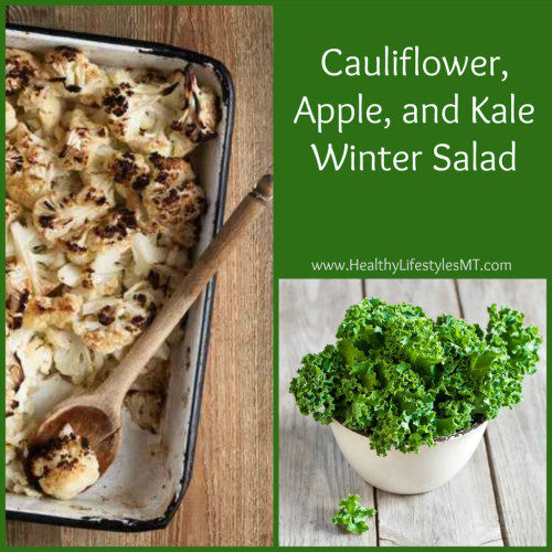 Kale Salad with Roasted Cauliflower and Apple Bits