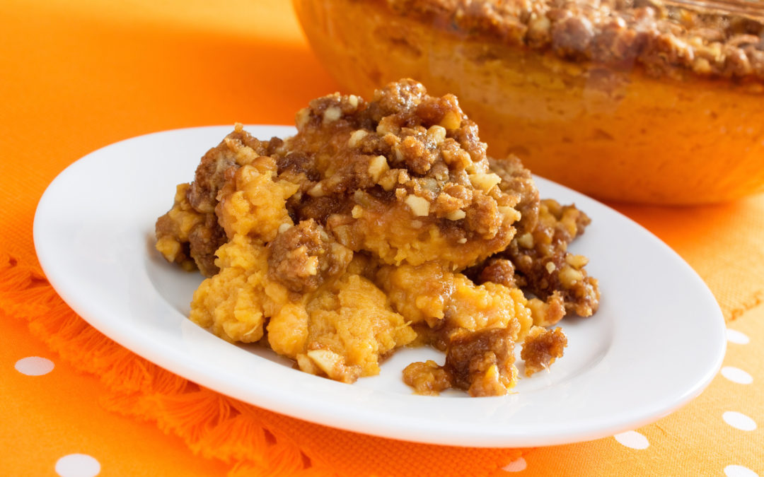 Mashed Butternut Squash and Sweet Potato with Pecans